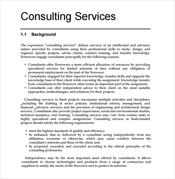 Sample Consultant Proposal   Documents In Pdf  Word
