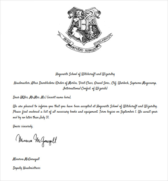Hogwarts Acceptance Letter - 8+ Download Documents in PDF , Word , PSD