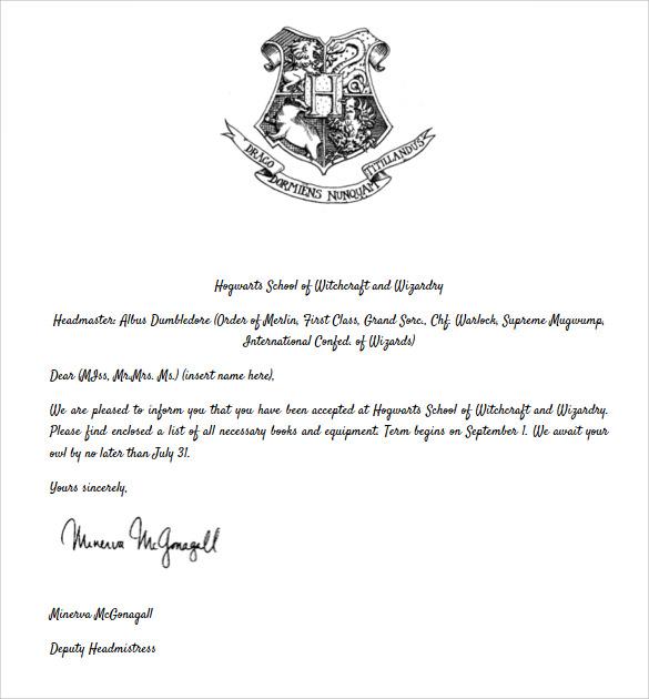 sample hogwarts acceptance letter