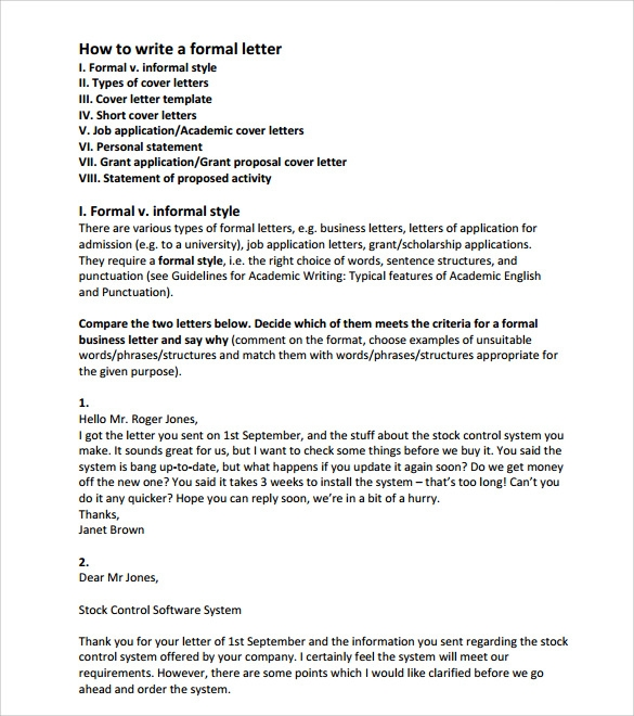 A Formal Letter Formal Letter Formal Letter Format Sample Official