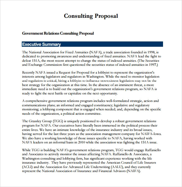 Consulting Proposal Template Download  Executive Summary Proposal Template