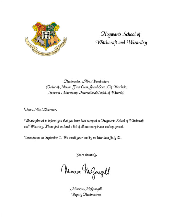 Sample Hogwarts Acceptance Letter - 8+ Download Documents In Pdf