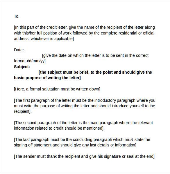 Format for Credit Letter