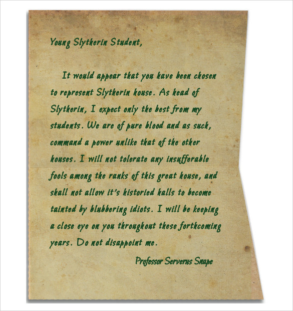 Sample Hogwarts Acceptance Letter   Download Documents In Pdf