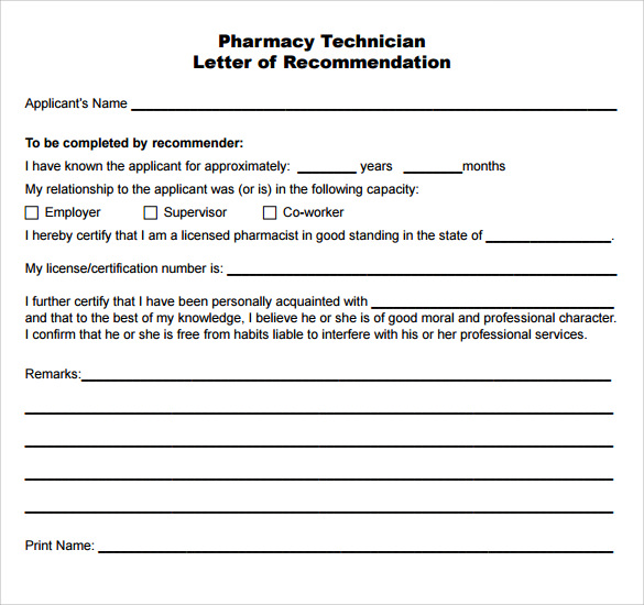 Sample Pharmacy Technician Letter   Documents In Pdf Word
