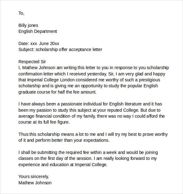 Doc.#600730: Scholarship Acceptance Letter – Sample Scholarship