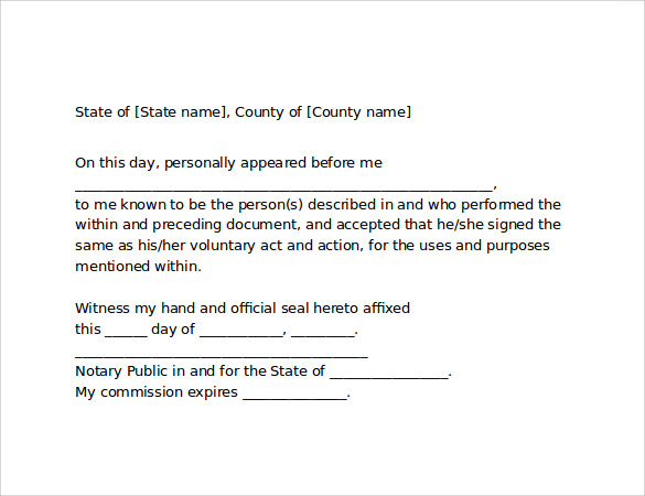 Sample Notarized Letter 6 Documents in Word PDF – Sample Notary Statements