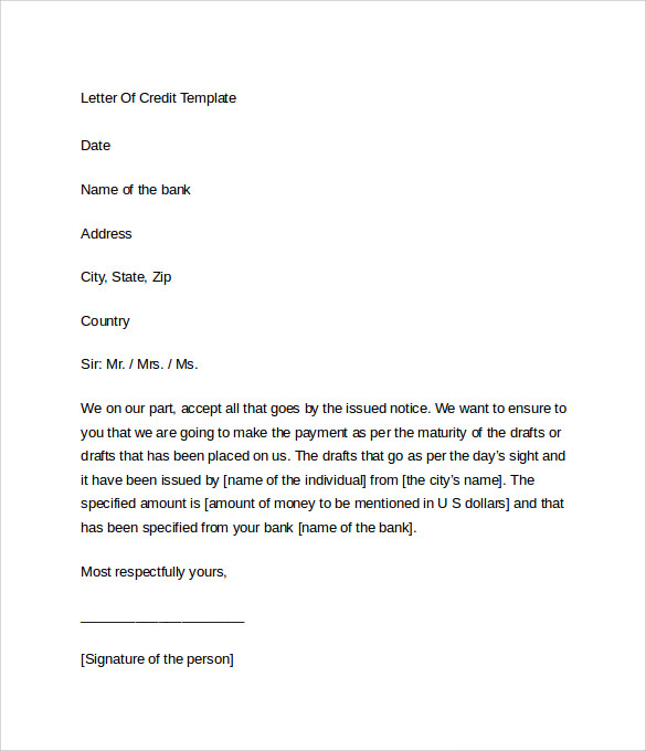 Sample letter of credit 9 download free documents in word for Free credit repair letters templates