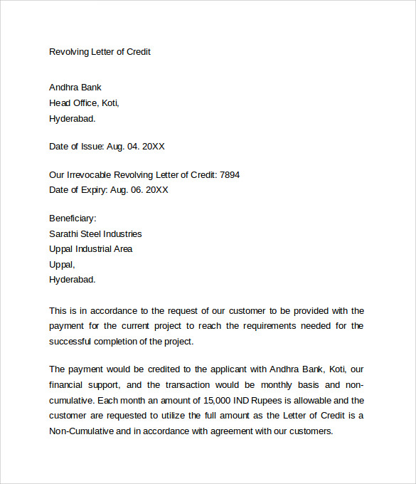 Revolving-Letter-of-Credit Online Letter Format Template on free personal, full block, business cover,