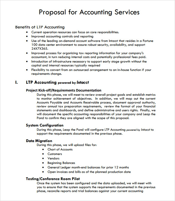 Service proposal template 7 download documents in pdf for Proposal for bookkeeping services template