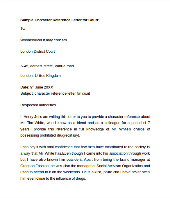 Doc650841 Sample Character Reference Letters for Court – Character References Template