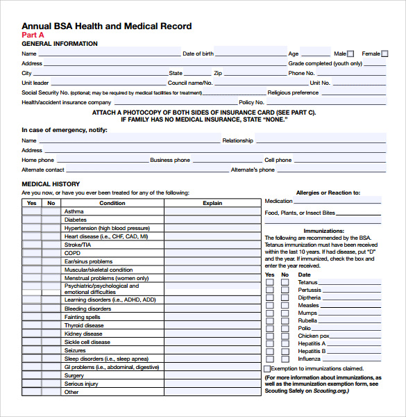 Sample Bsa Medical Form - 5+ Free Documents Download In Pdf, Word
