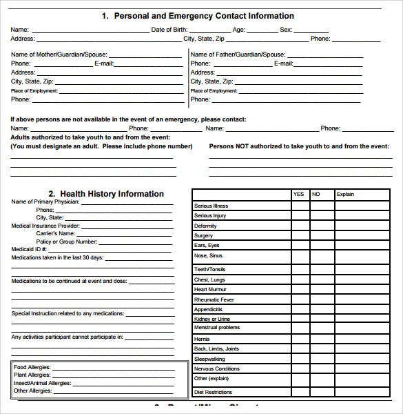 Bsa Health Form  WowcircleTk