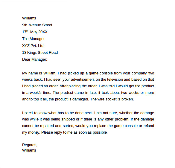 Sample Professional Letter Formats 8 Download Free Documents in – Complaint Mail Format