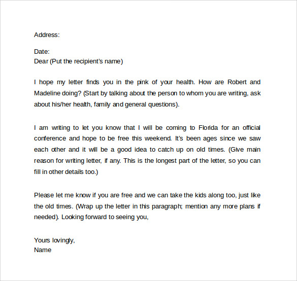 friendly letter formate 8 friendly letter format samples sample templates 6393