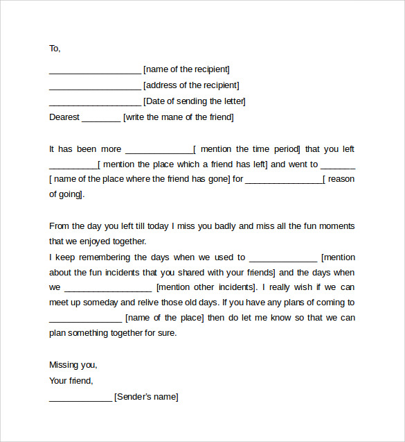 friendly letter format template