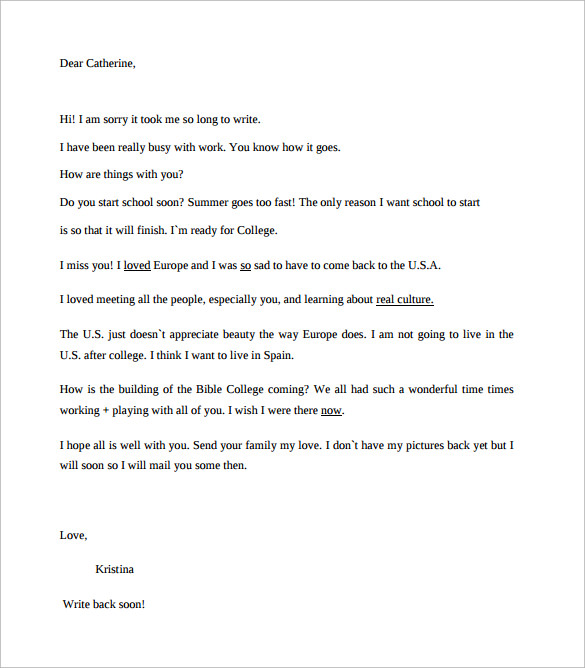 Friendly Letter Template - Best Letter Sample