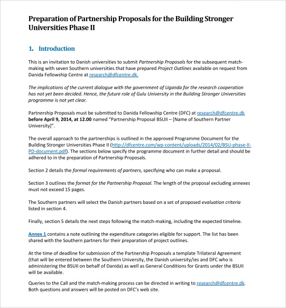 8 partnership proposal templates to download for free for Capital expenditure proposal template