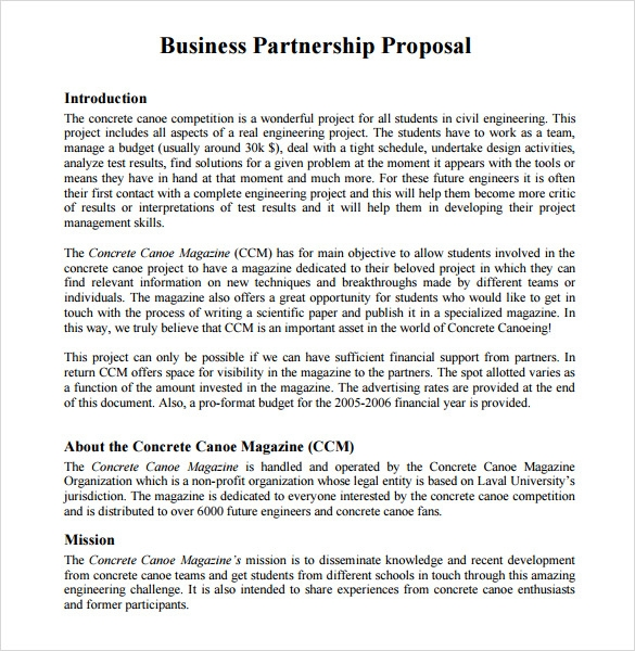 Business partnership proposal