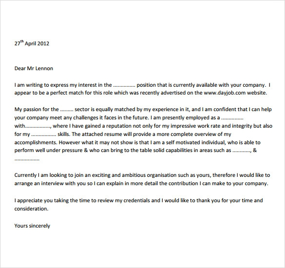 Job Letter Template  7  Download Documents in PDF Word 4hhb5wLp
