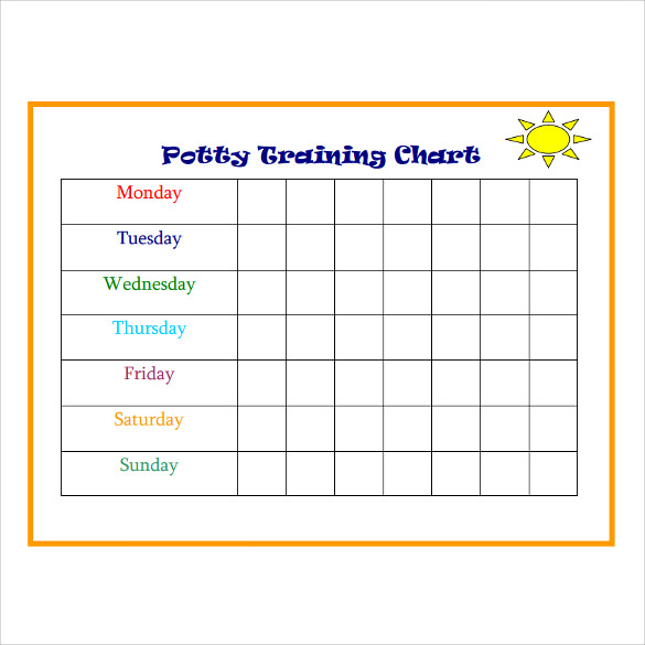 image regarding Free Printable Potty Training Charts identify Potty Exercising Charts - 9+ Down load Free of charge Information In just PDF