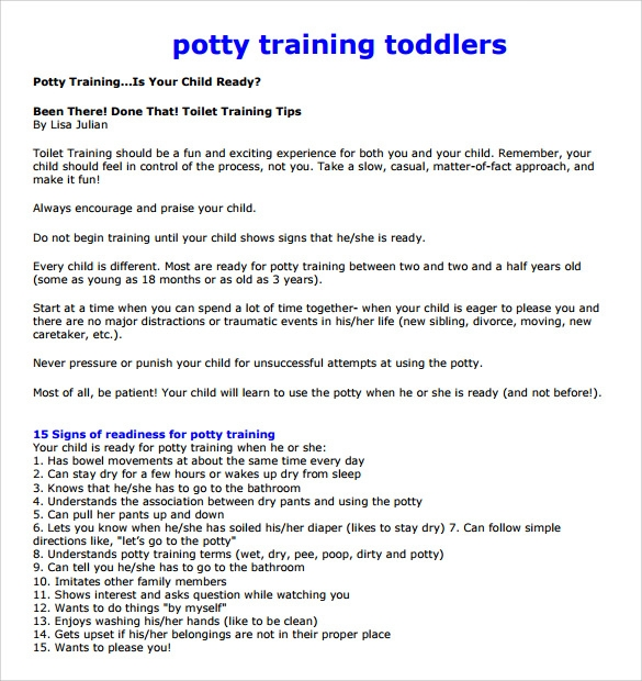 Potty Training Sample Letter To Parents