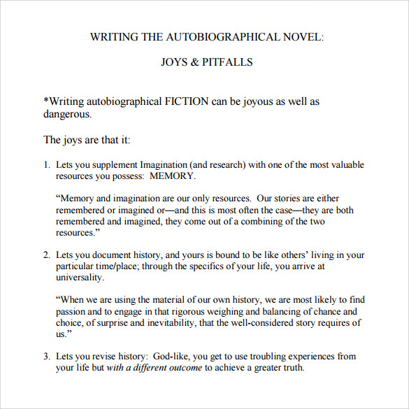 autobiography template example