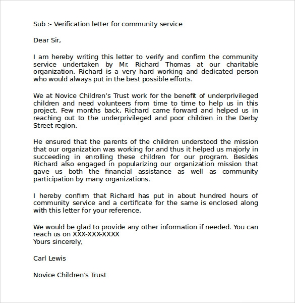 22 community service letters to download for free sample templates community service verification letter altavistaventures Images