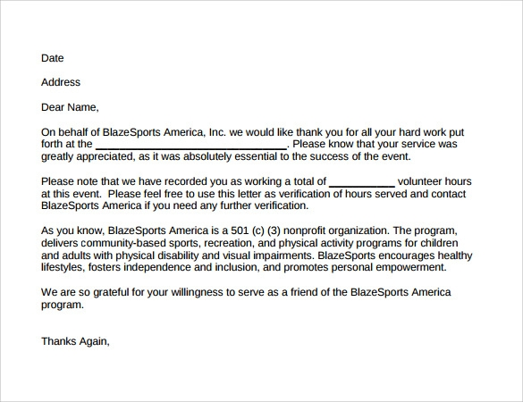 Proof Of Volunteer Work Letter from images.sampletemplates.com