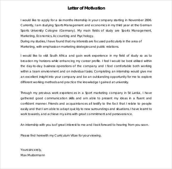 Sample Motivation Letter Template - 6 Download Documents in PDF , Word