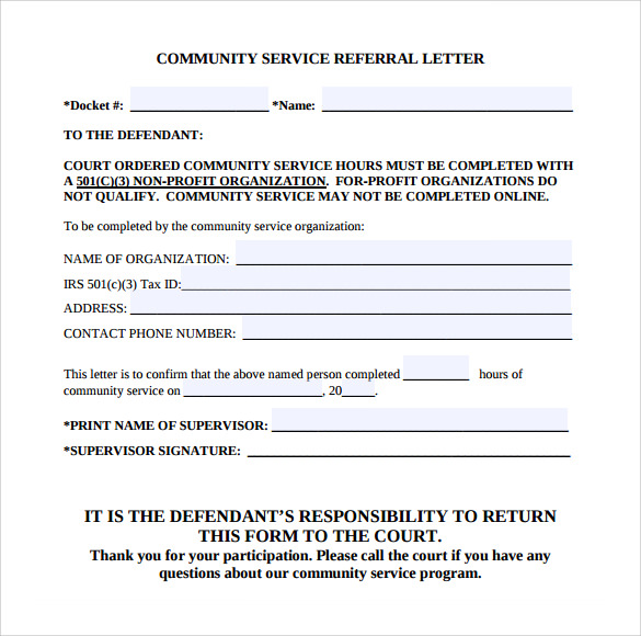 Sample Community Service Letter 7 Download Free Documents in – Community Service Letter
