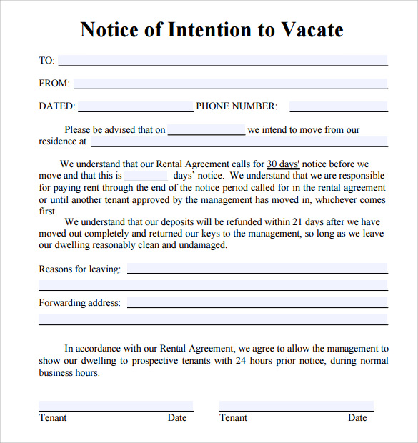Notice To Vacate Letters Download for Free