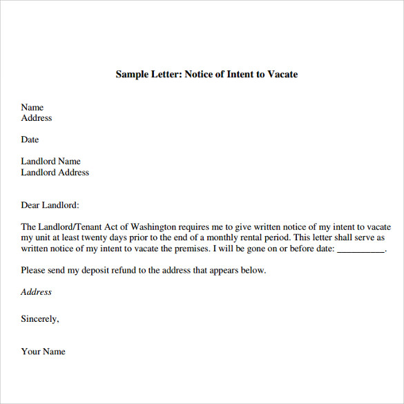 Sample Letter: Notice Of Intent To Vacate  Notice To Quit Letter