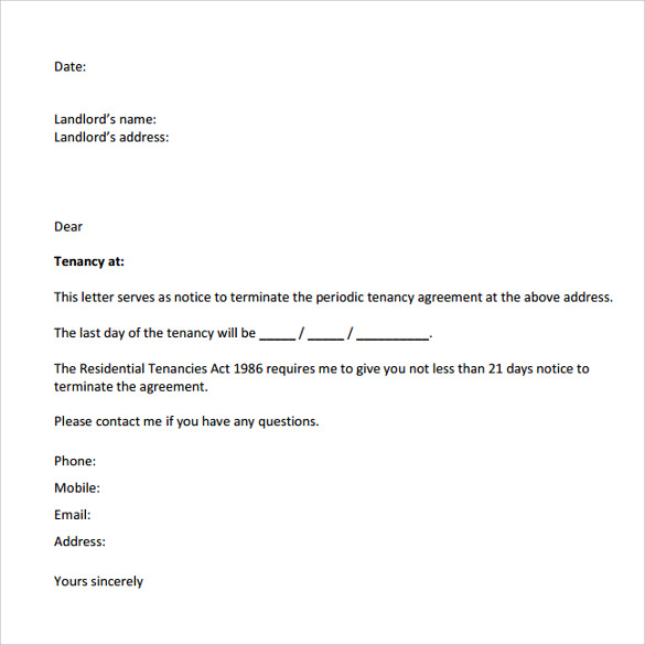 Sample Notice To Vacate Letters 8 Download Free Documents In – Notice to Vacate Letter