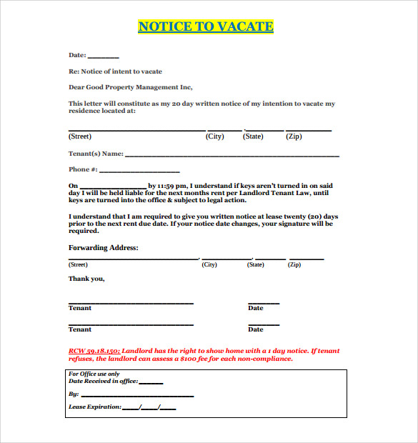 sle notice to quit letter - 28 images - nyc finance letter of vacate ...