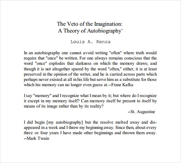 printable autobiography template