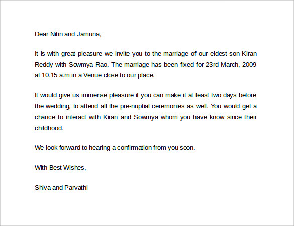 Letter Of Invitation For Marriage Marriage Invitation Lett