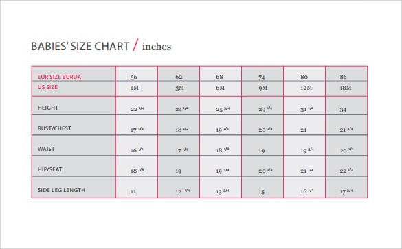 baby size chart template