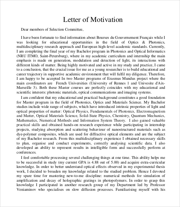 8 Sample Motivation Letters Pdf Word