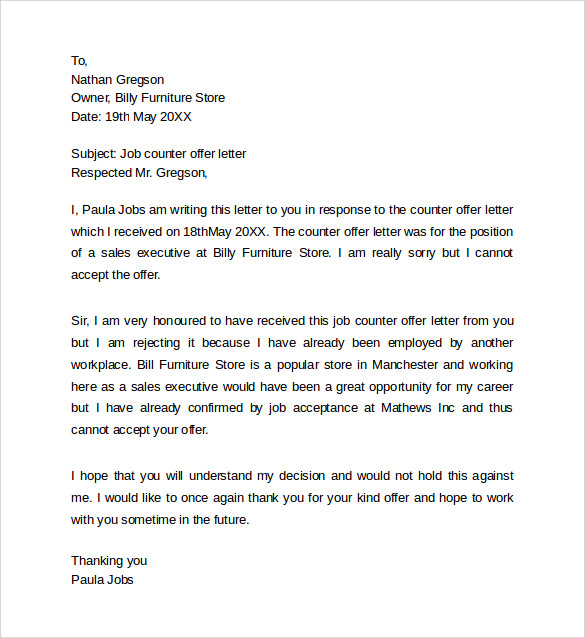 Employment Job Offer Letter Cover Letter Resigning Letter