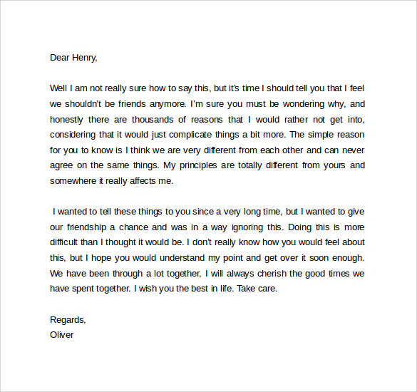 friend break up letter