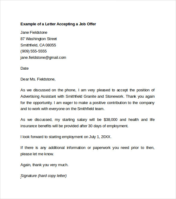 sample job offer acceptance letter     download free documents in    example of a letter accepting a job offer