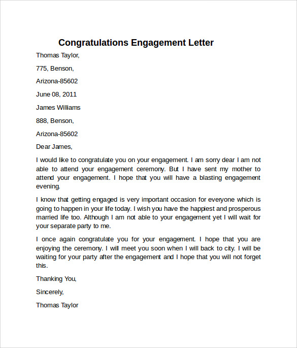 High Quality Congratulations Engagement Letter