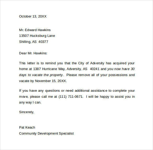 30 Day Notice Letter Templates 9 Download Free