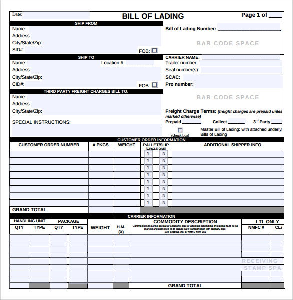 Bill Of Lading PDF  Blank Bill Of Lading Short Form