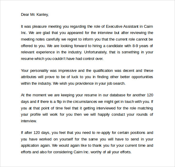 9 rejection letters after interview to download sample templates download rejection letter after interview thecheapjerseys Images