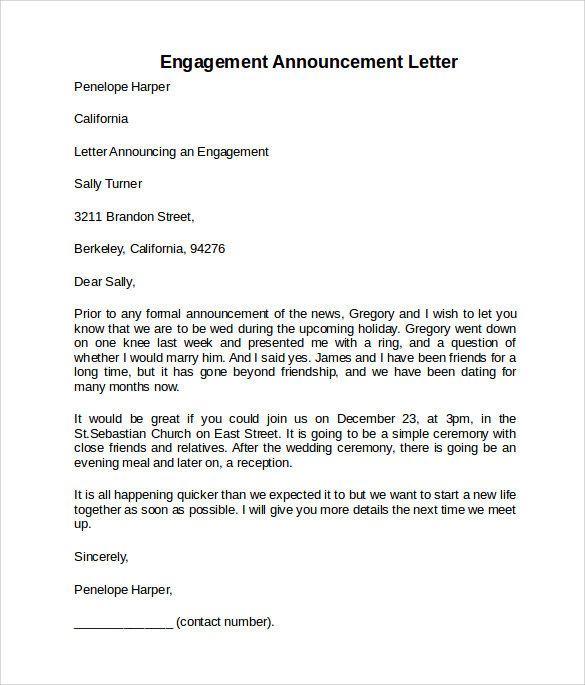 engagement announcement letter