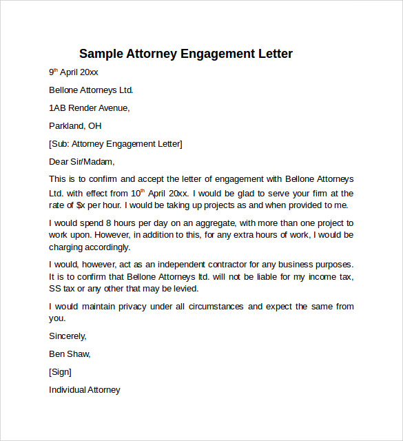 Sample engagement letter 9 download free documents in pdf word engagement letter to download spiritdancerdesigns Choice Image
