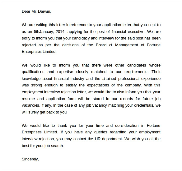 Sample rejection letter after interview 9 download free employer rejection letter after interview spiritdancerdesigns Choice Image
