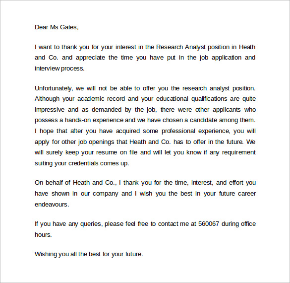 Sample Rejection Letter After Interview   Download Free Documents